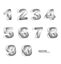 metallic grunge 3D numbers vector image