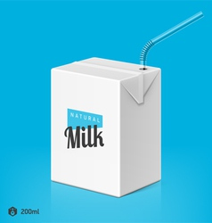 Milk package with drinking straw template vector image