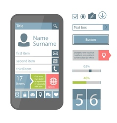 Mobile flat UI elements vector image