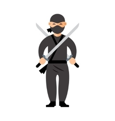 Ninja Flat style colorful Cartoon vector image