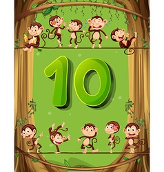 Number ten with 10 monkeys on the tree vector