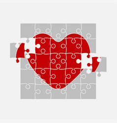 One red puzzle heart jigsaw love medical vector