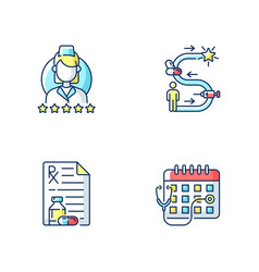 Online medical service rgb color icons set vector