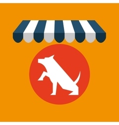 Pet shop with dog up hand vector