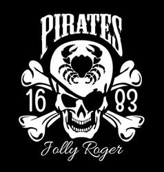 pirates jolly roger symbol poster of skull vector image