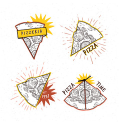 pizzeria logotypes set collection different vector image