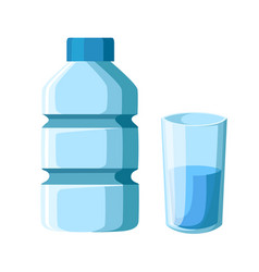 plastic bottle and glass water flat isolated vector image