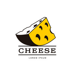 Porous yellow piece of cheese brand logo icon vector