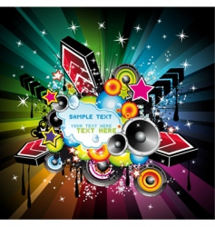rainbow disco music background vector image