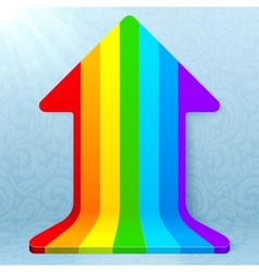 Rainbow stripes realistic plastic up arrow vector image