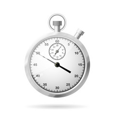 Realistic metallic stopwatch front view vector