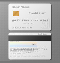 realistic white bank credit card with chip vector image