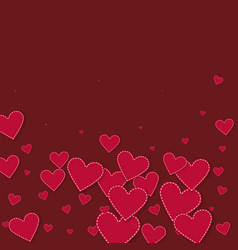 Red heart love confettis valentines day falling vector