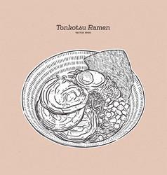 Rich and creamy tonkotsu ramen with chashu and vector