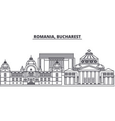 Romania bucharest line skyline vector