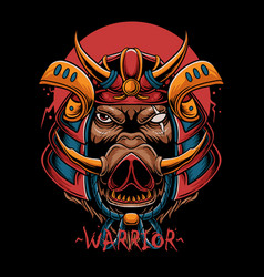samurai boar head vector image