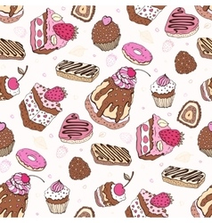 Seamless cupcake pattern vector image