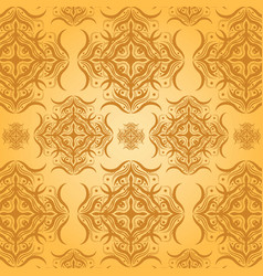 seamless damask pattern orange background vector image