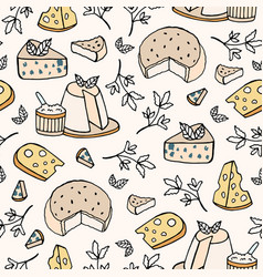 Seamless pattern with cheese of different types - vector