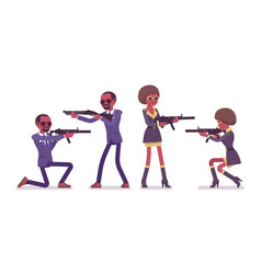 secret agent black man and woman spies aiming vector image