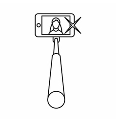 Selfie stick with mobile phone icon outline style vector image