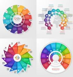 set of 4 infographic templates with 12 options vector image