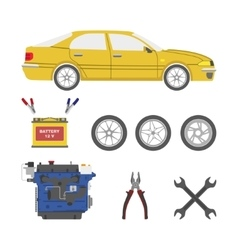 Set of car parts vector