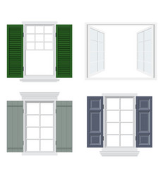 set of different windows with shutters vector image