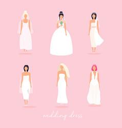 set women in wedding dresses in different vector image