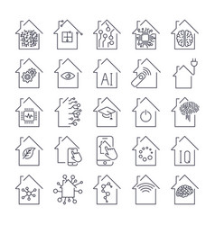 Simple set of smart house related line icons vector