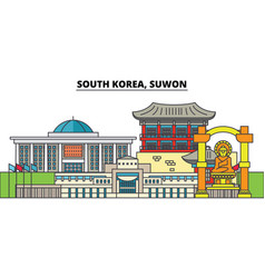 south korea suwon city skyline architecture vector image