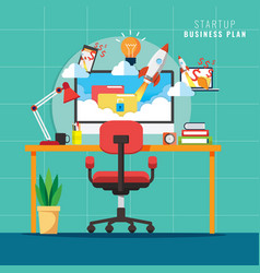 startup workplace business concept with rocket vector image