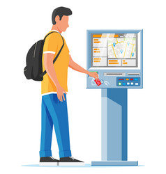 street payment terminal and man isolated vector image