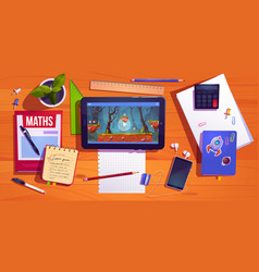 student desk top view teenager home workplace vector image