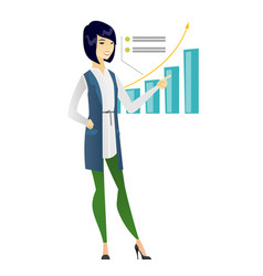 Successful business woman pointing at chart vector