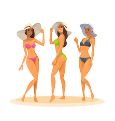Three woman in bikini full length long leg sexy vector
