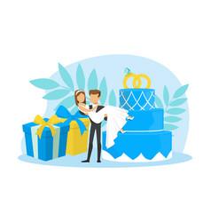 tiny couple newlyweds standing beside wedding vector image