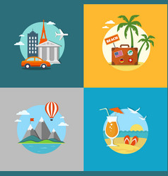 Travel and beach flat banners set vector