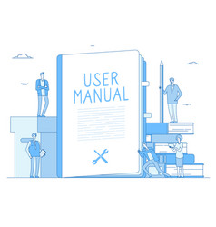 User manual people with guidance guided textbook vector
