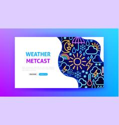Weather metcast neon landing page vector