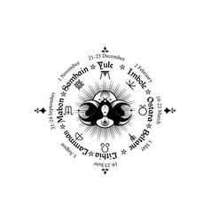Wheel year wiccan calendar holidays vector