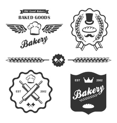 bakery bread vintage retro badges labels set vector image vector image