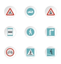 Road sign icons set flat style vector image vector image
