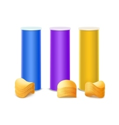Set of Purple Blue Yellow Tin Box with Chips vector image vector image
