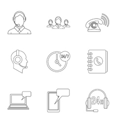 Technical support icons set outline style vector