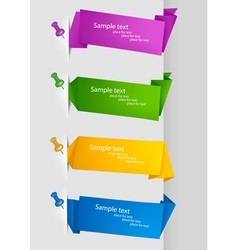 collection with origami banners with pushpins vector image vector image