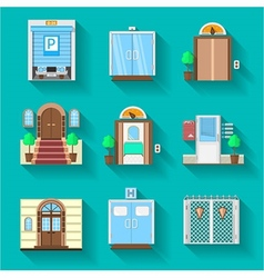 Flat icons collection for entrance doors vector image