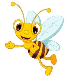 funny bee cartoon waving vector image