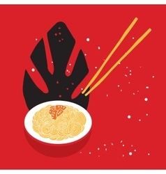 Hand drawn noodles bowl with chopsticks Colorful vector image