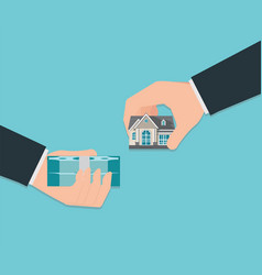 human hand holding right house and money isolated vector image